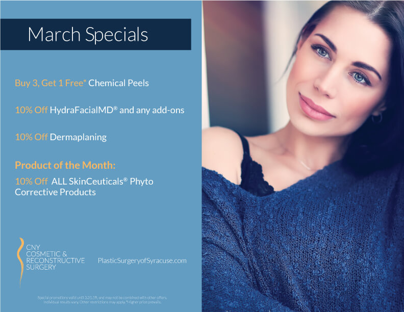 plastic surgery of syracuse March 2019 Specials counter card