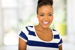 Woman who is happy after AquaGold Microneedling treatment