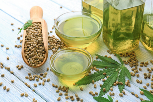 CBD oil and hemp leaves